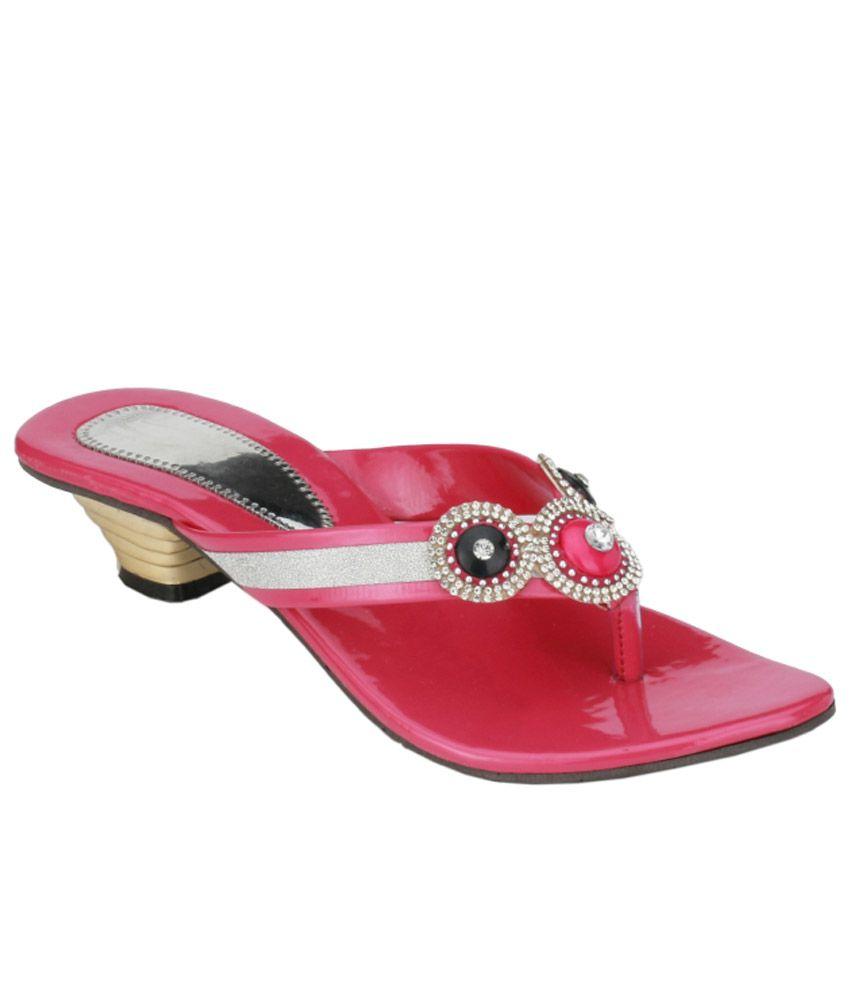 Nickolas Pink And Silver Heeled Slip Ons