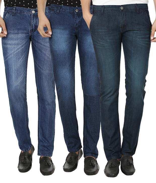 Ben Carter Blue Cotton Slim Fit Jeans - Combo Of 3