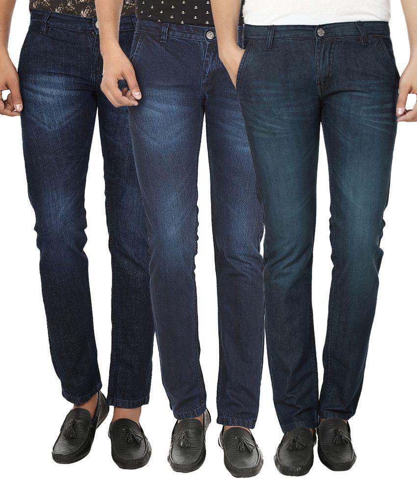 Club Vintage Blue Slim Fit Jeans - Pack Of 3