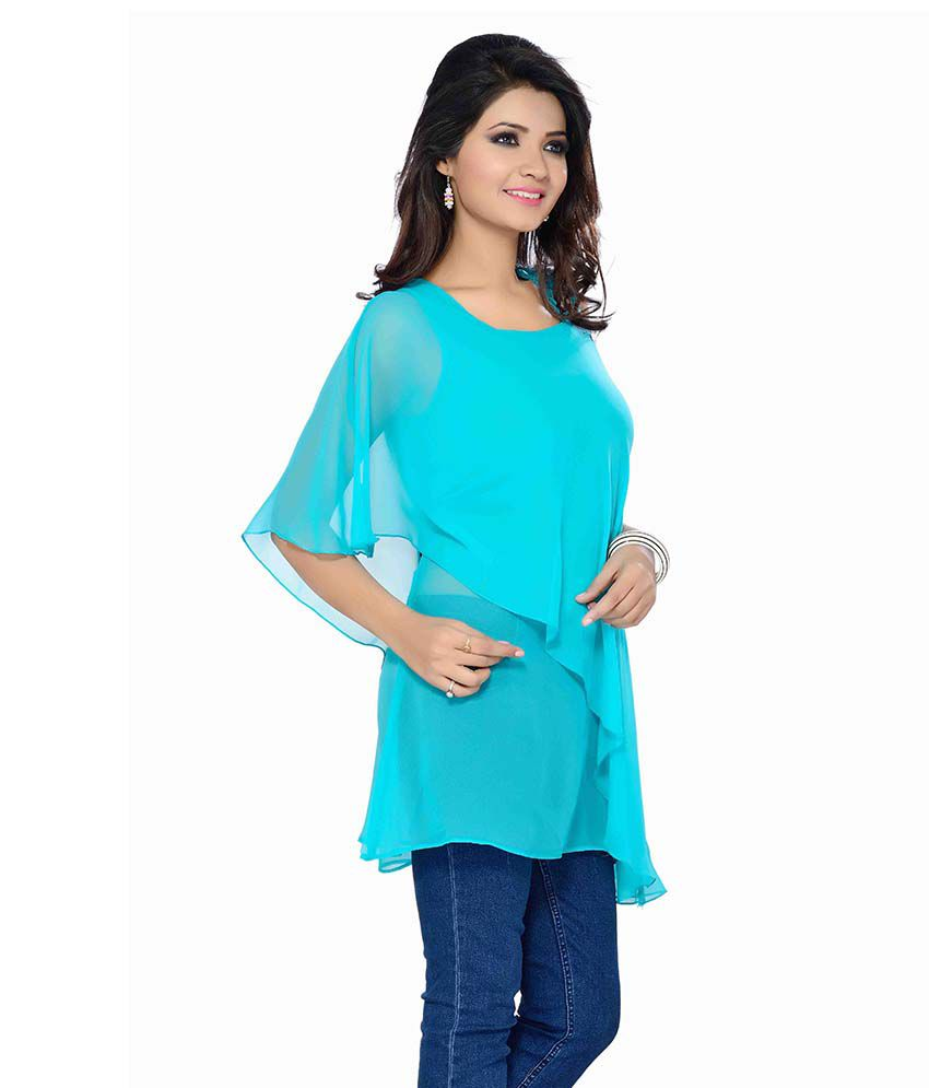 43f8d816db990 Ishin Blue Poly Georgette Tops - Buy Ishin Blue Poly Georgette Tops ...