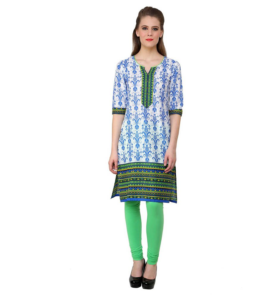 Rangeelo Rajasthan Blue Straight Cotton Kurti