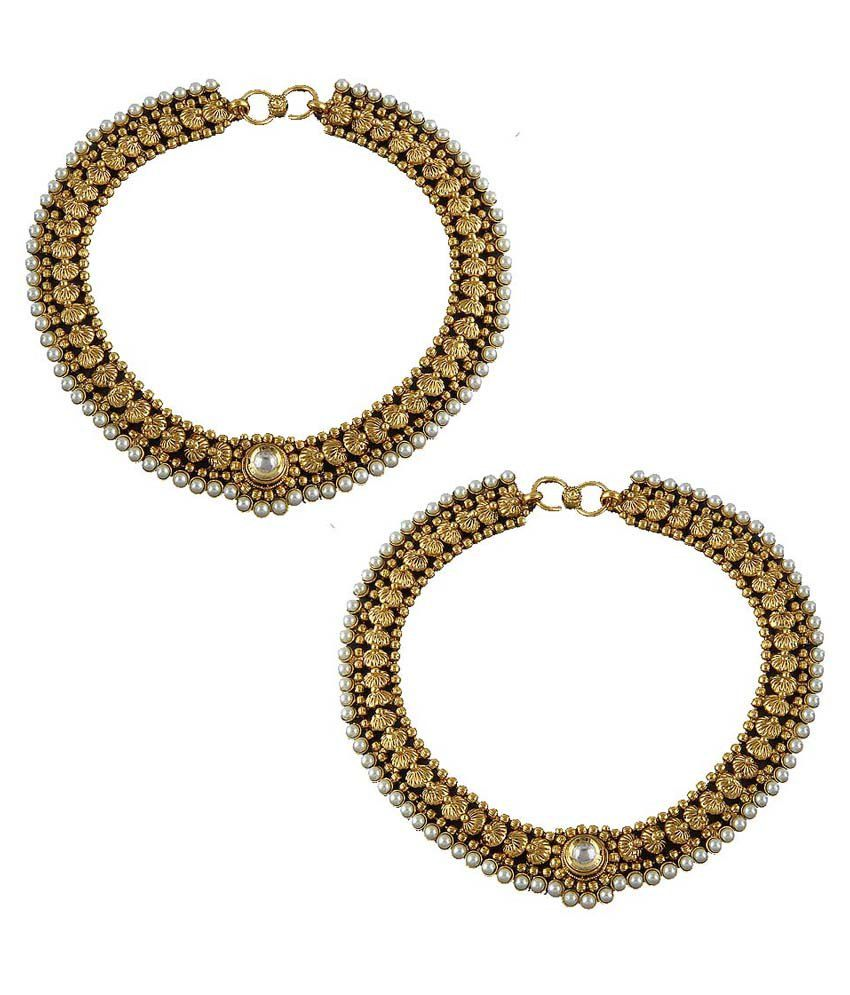 Anuradha Art Golden Copper Pair Of Anklet