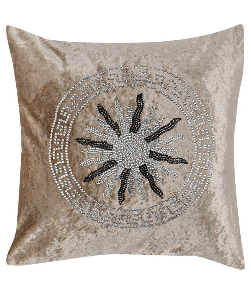 I Design Beige Velvet Cushion Cover