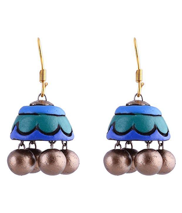 I Made It Creations Green Designer Jhumki Earrings