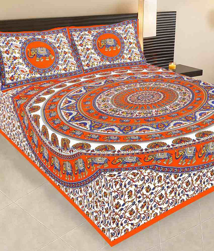 Traditional Bedsheet With Pillow Cover : Bedding Bazar Multicolour Cotton Traditional Double Bedsheet With 2 Pillow Cover - Buy Bedding ...