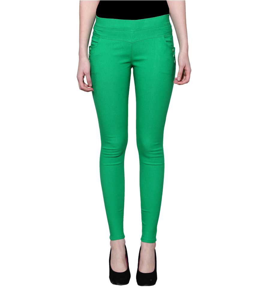 Lgc Green Poly Cotton Jeggings