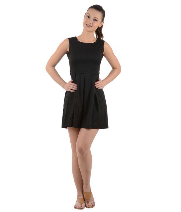 Urban Rebels Black Cotton Lycra Dresses
