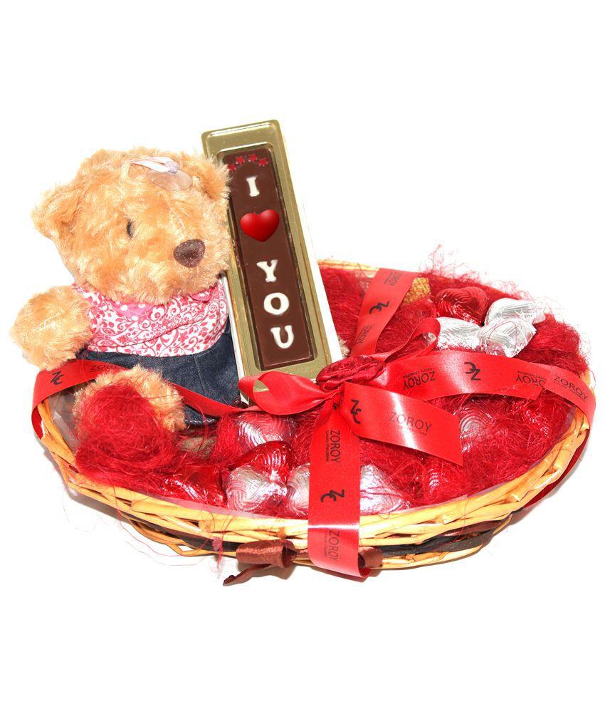Zoroy Beige The Romance Her Gift Hamper Basket of I Love You Chocolate Bar, 15 Heart Shaped Milk Chocolates & Female Teddy Bear