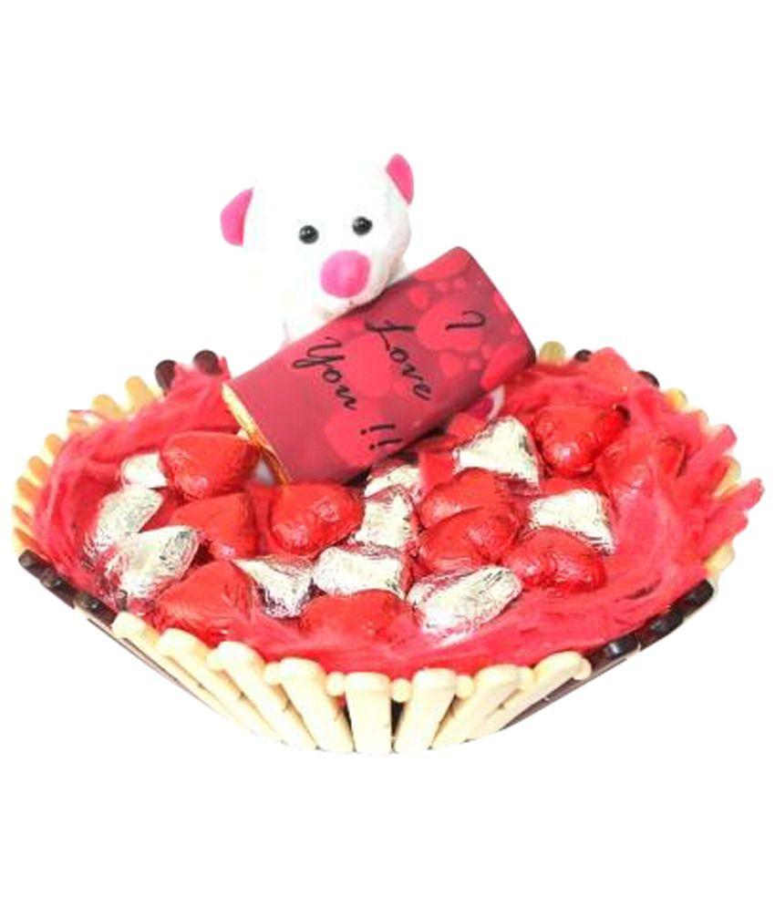Zoroy Love Teddy Basket of I Love You Chocolate Bar & 20 Heart Shaped Milk Chocolates