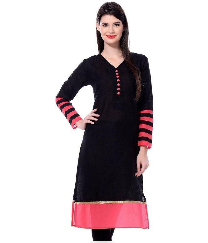 Amar creation Black Unstitched Cotton Kurti