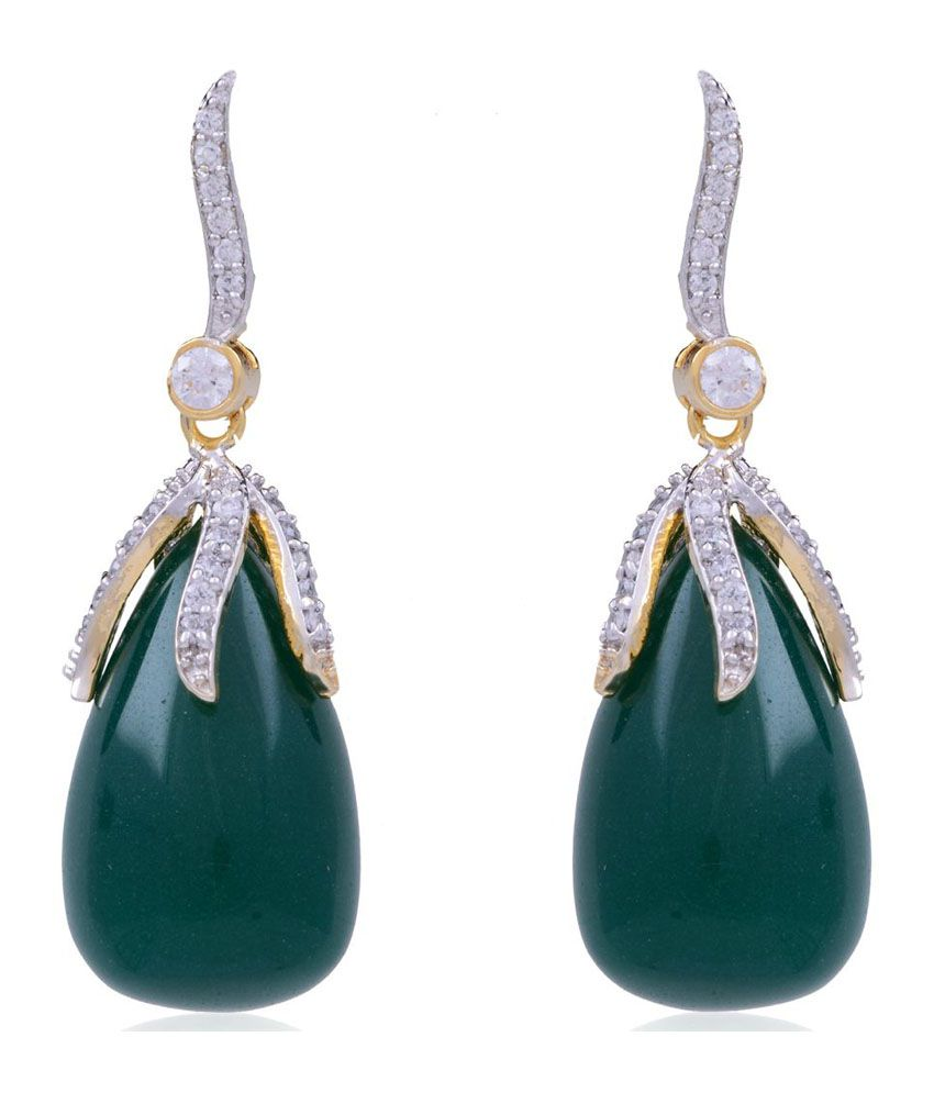 Jewel Planet Green Alloy Earrings