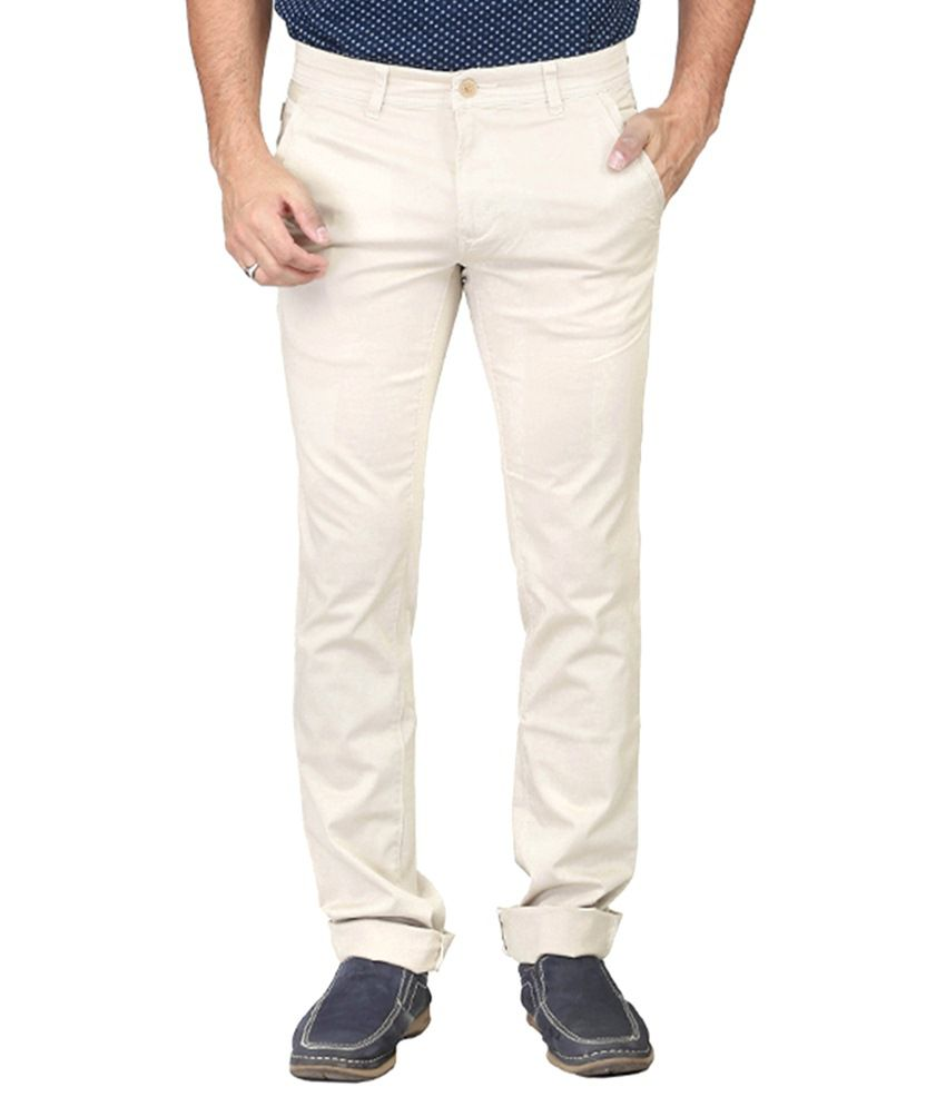 Irony Off-white Slim Fit Casual Chinos