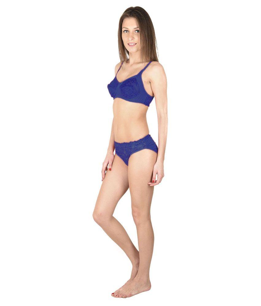3c4066f4bf574 Buy Simoni Blue Satin Net Bra   Panty Sets Online at Best Prices in ...