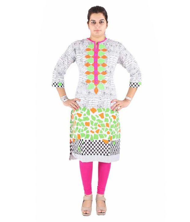 Vedha global White Cotton Kurti