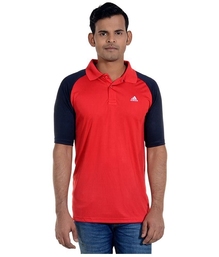Adidas Red Half Sleeves Polo T-Shirt