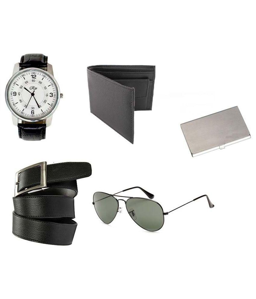 Rio Combo of Wallet, Belt, Wrist Watch, Sunglasses and Matel Card Holder