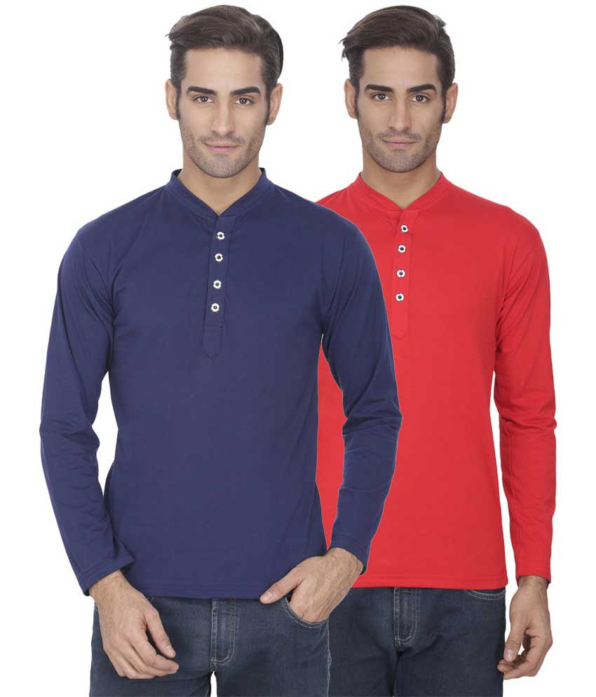 Esoul Solid Men's Navy & Red Henley Tshirt