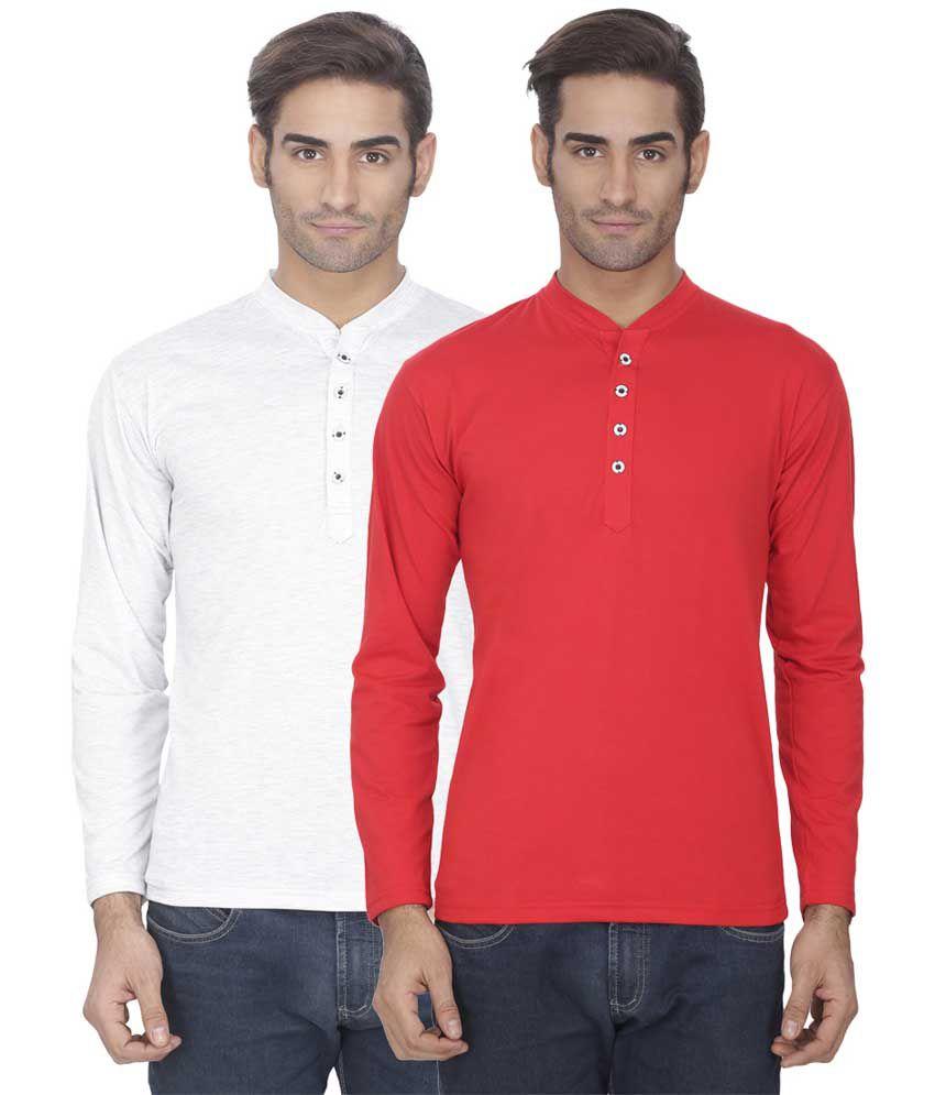 Esoul Solid Men's Red & Light Grey Henley Tshirt
