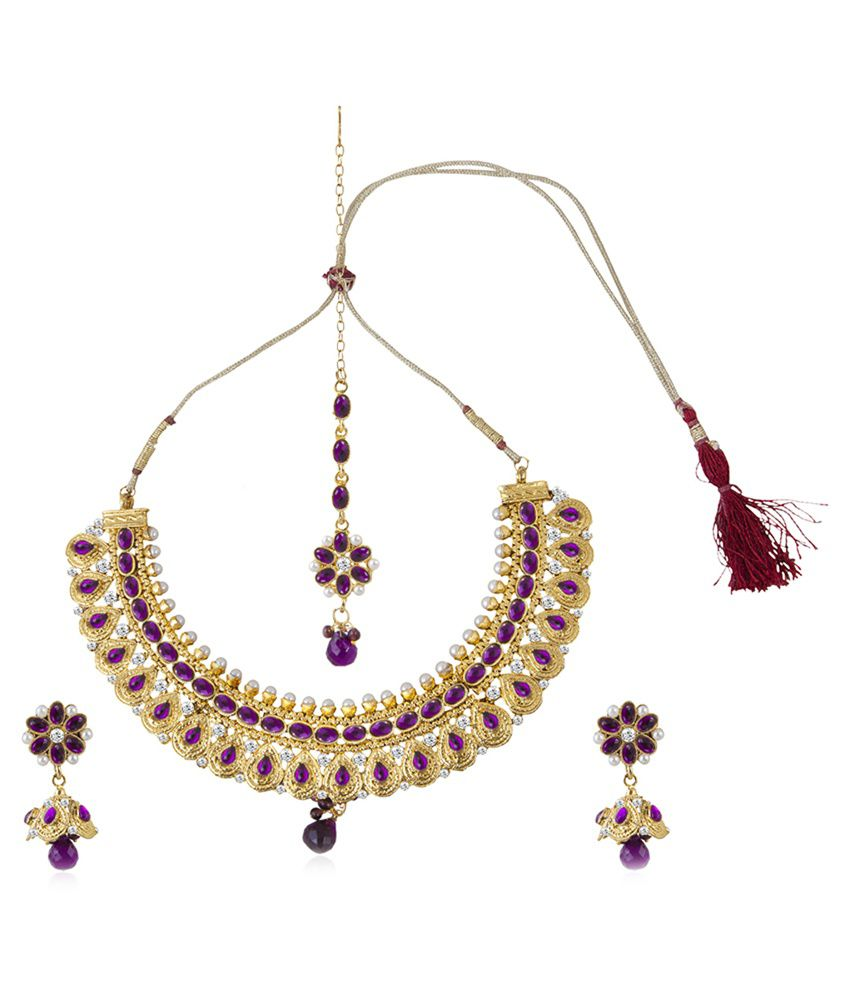 Sukkhi Golden Alloy Necklace Set With Maang Tika-Purple Color