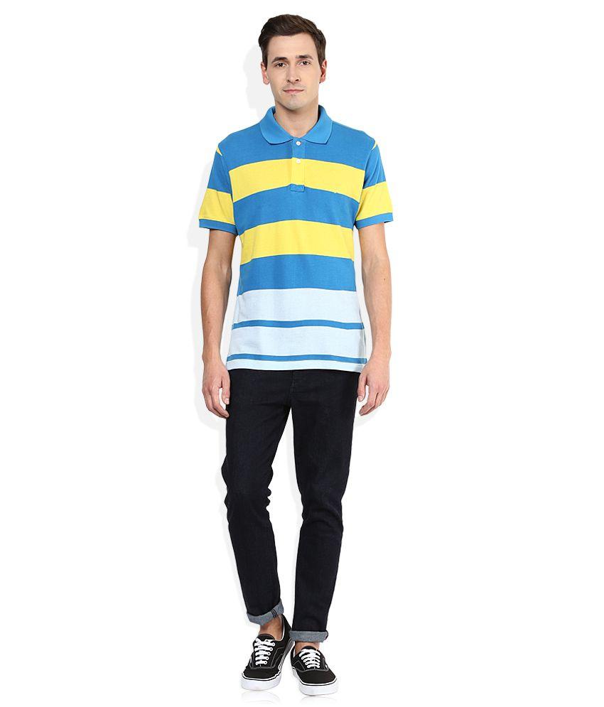 Colorplus Blue Striped Polo T Shirt - Buy Colorplus Blue ...