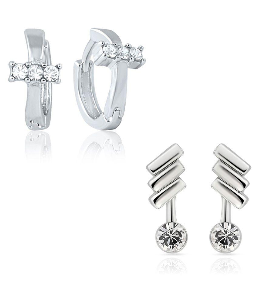 Mahi Silver & White Alloy Earring Combo