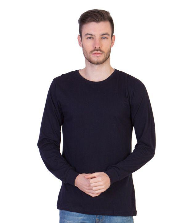 Acomharc Inc Navy Cotton Full Sleeves T Shirt