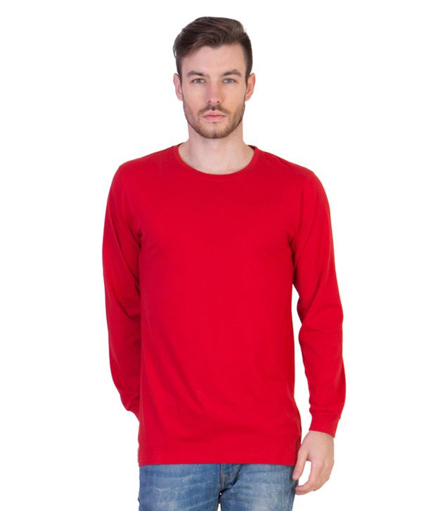 Acomharc Inc Red Cotton Full Sleeves T Shirt