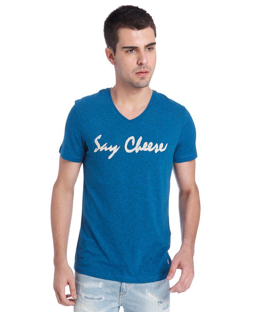 Jack & Jones Blue Viscose Printed T-Shirt