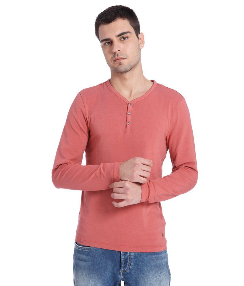 Jack & Jones Red Henley T-Shirt