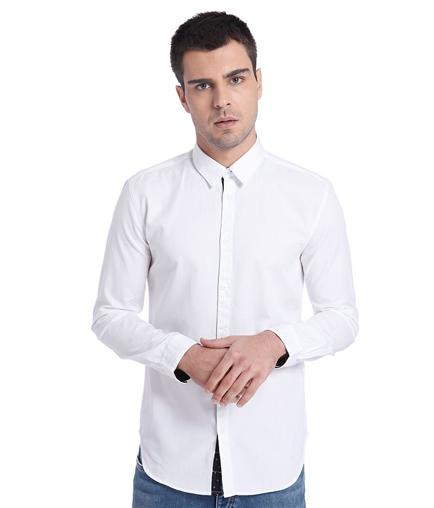 Jack jones white slim fit casual shirt snapdeal price for Dinner shirts slim fit