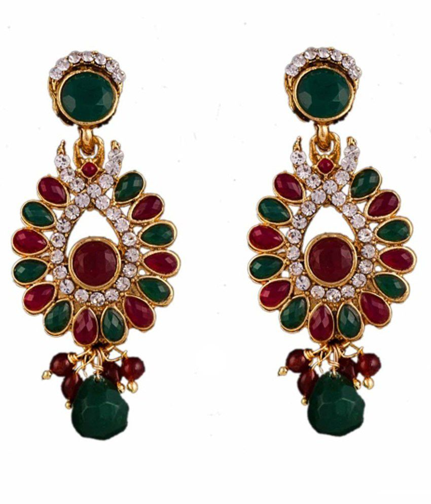 R18jewels-fashion&u Multicolour Brass Drop Earrings