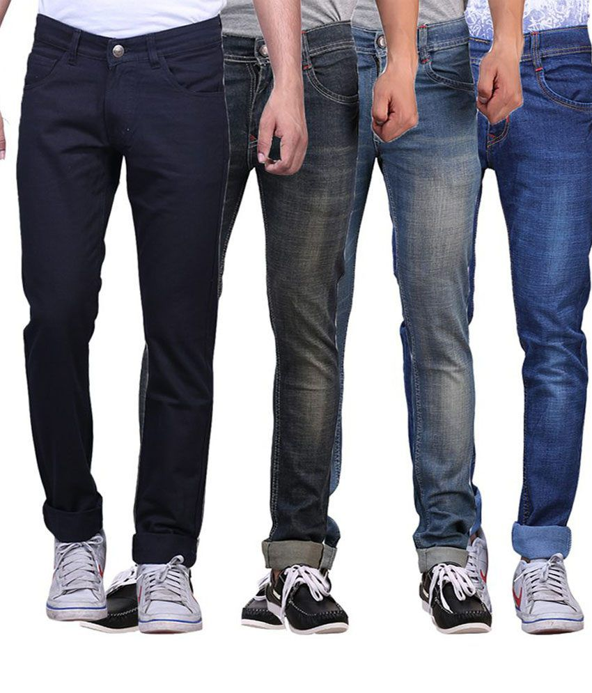 X-cross Multi Colour Slim Fit Jeans - Pack Of 4