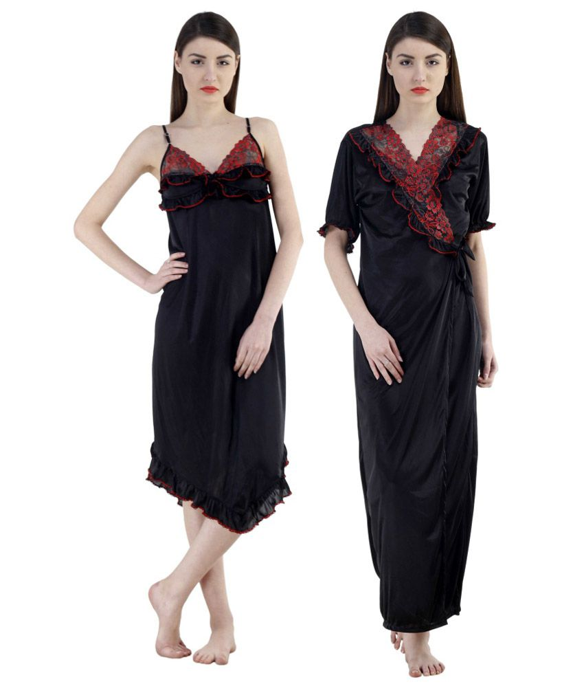 Buy Fashion Zilla Black Satin Nighty With Gown Set Online at Best ...