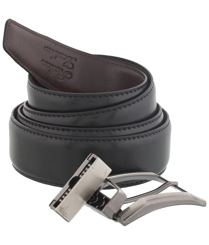 Mall4all Black Leather Reversible Formal Belt