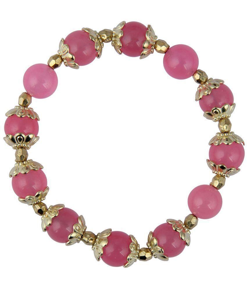 Pearlz Ocean Pink Quartz Beads Stretchable Bracelet for Women