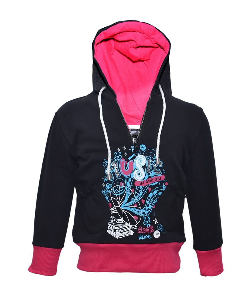 Cool Quotient Black Cotton With Hood Sweatshirt For Girls