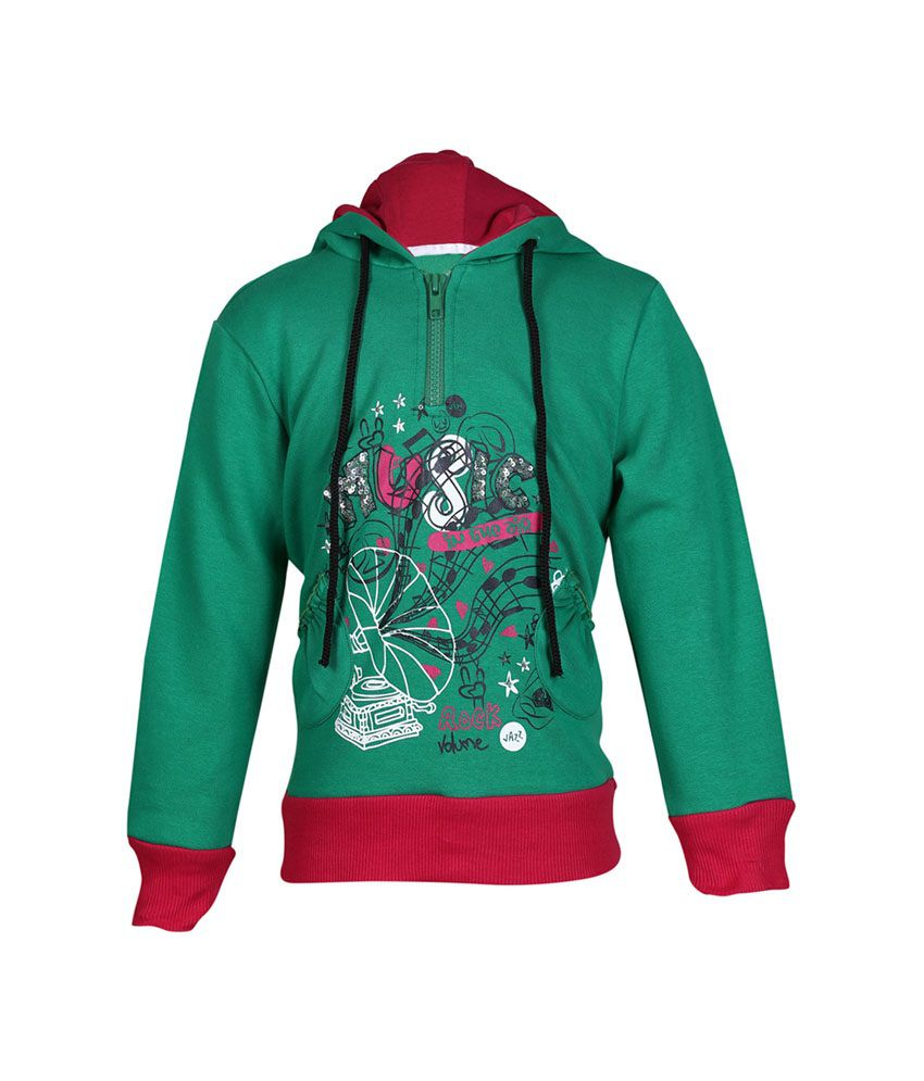 Cool Quotient Green Cotton With Hood Sweatshirt For Girls