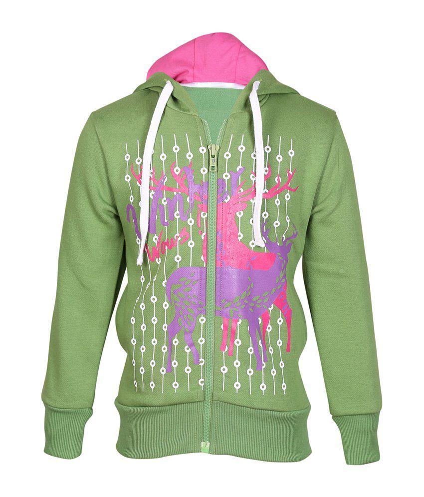 Cool Quotient Green Cotton Zipper Sweatshirt For Girls