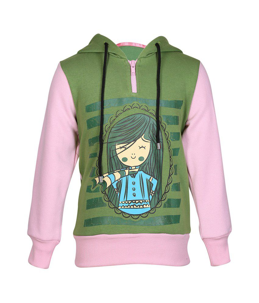 Cool Quotient Multi Cotton With Hood Sweatshirt For Girls