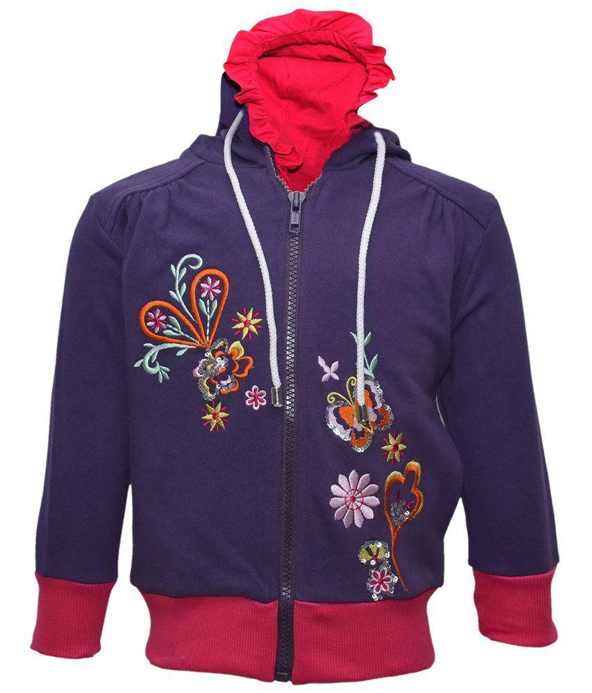 Cool Quotient Navy Cotton Zipper Sweatshirt For Girls
