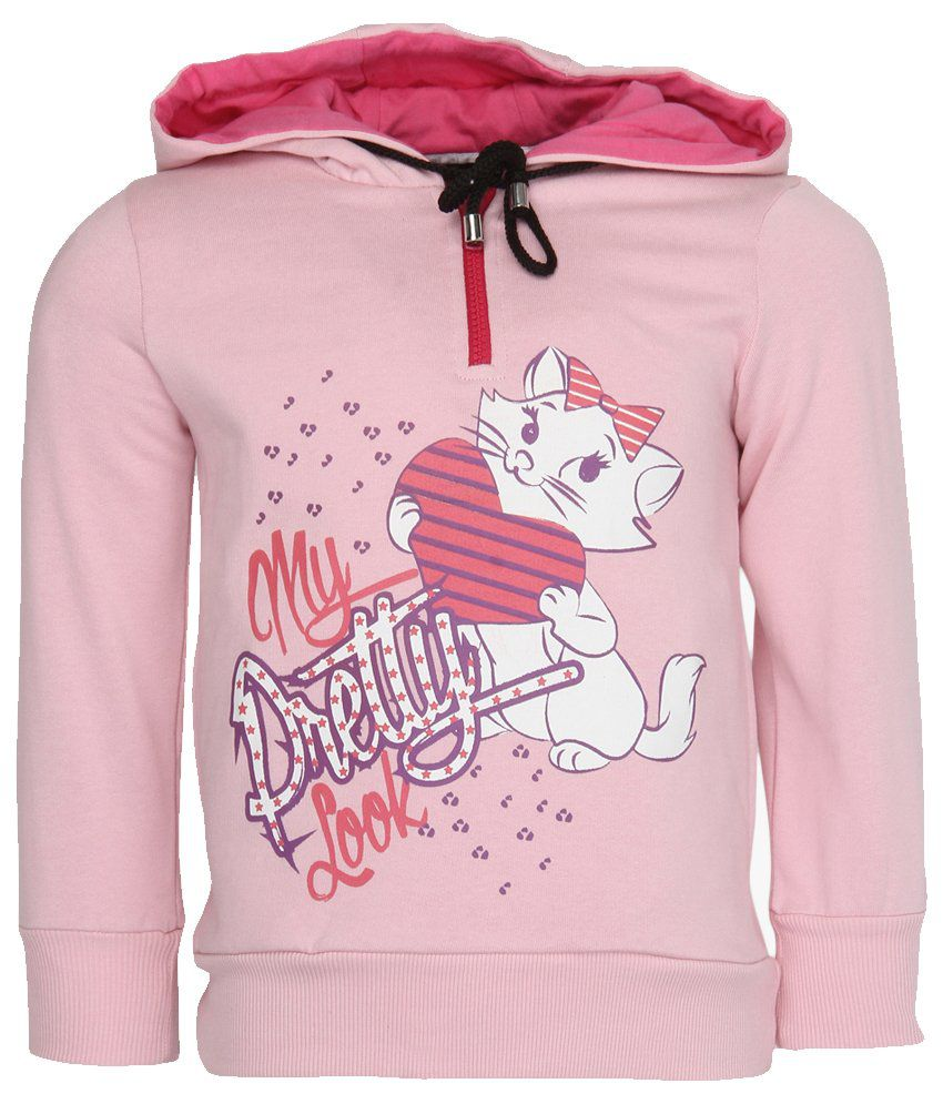 Cool Quotient Pink Cotton With Hood Sweatshirt For Girls