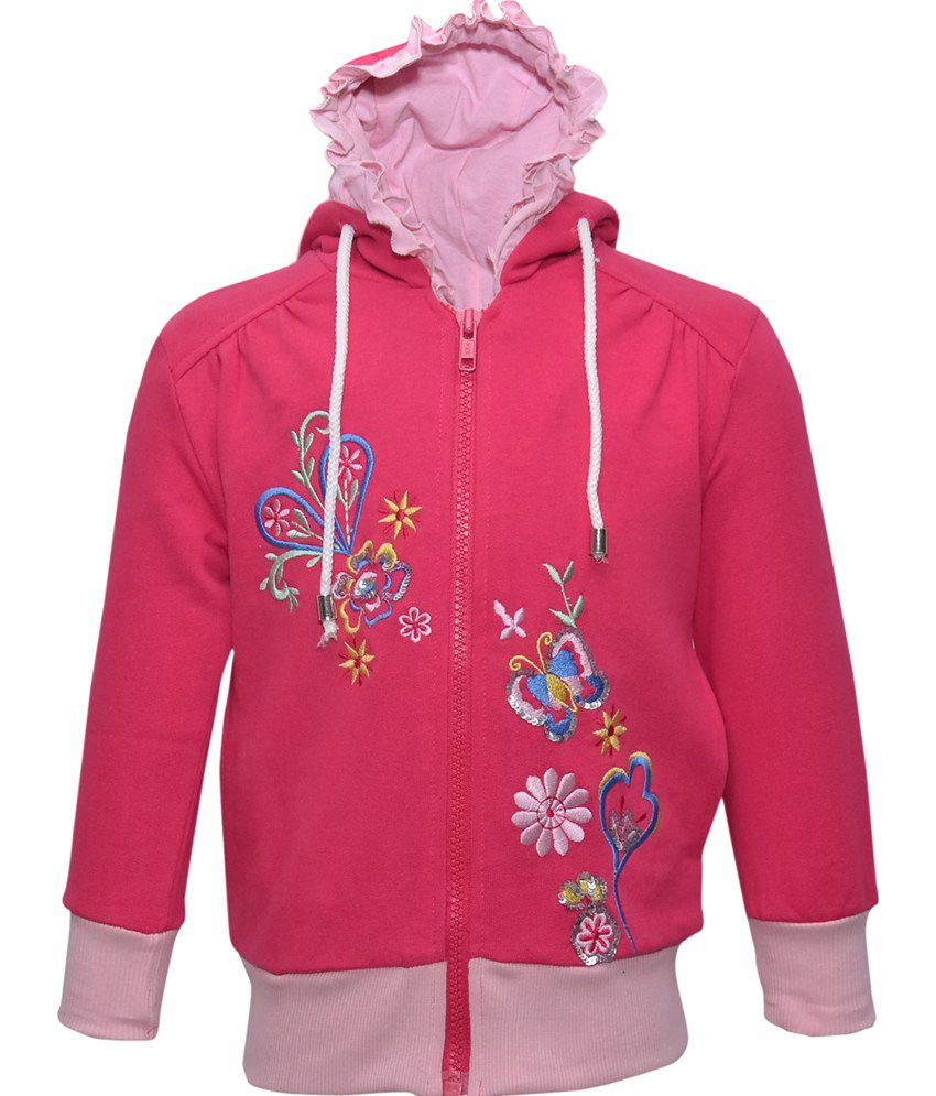 Cool Quotient Pink Cotton Zipper Sweatshirt For Girls