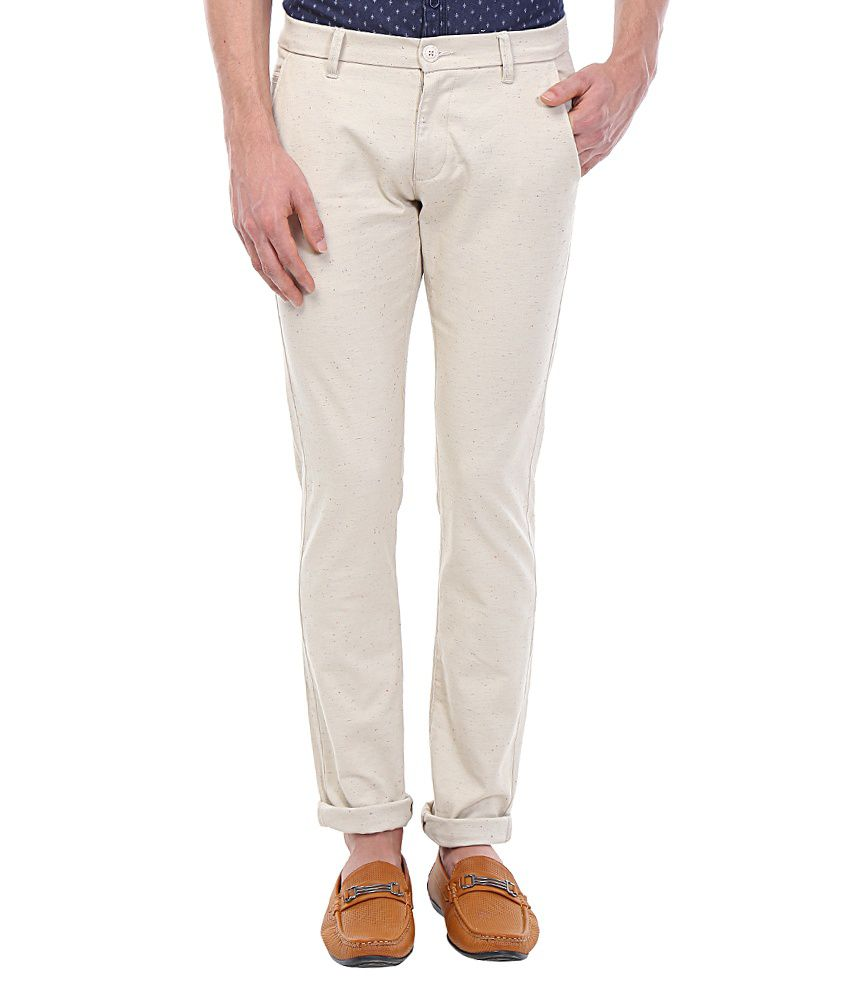 Vintage White Slim Fit Wear Chinos