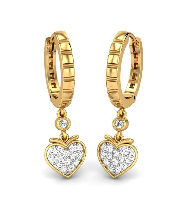 Candere Abhijna Diamond Earrings 14k Yellow Gold
