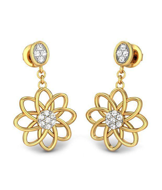 Candere Shaunakshi Diamond Earrings 14k Yellow Gold