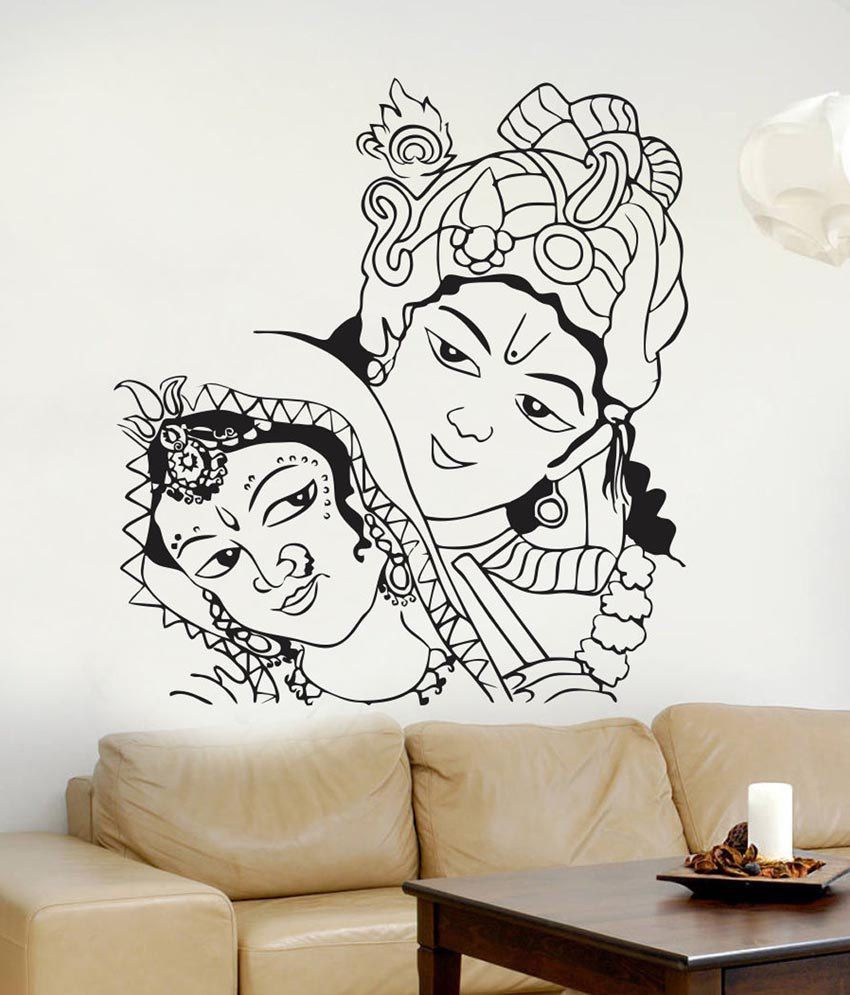 Wall stickers radha krishna - Impression Wall Textured Pvc Radha Krishna Wall Sticker