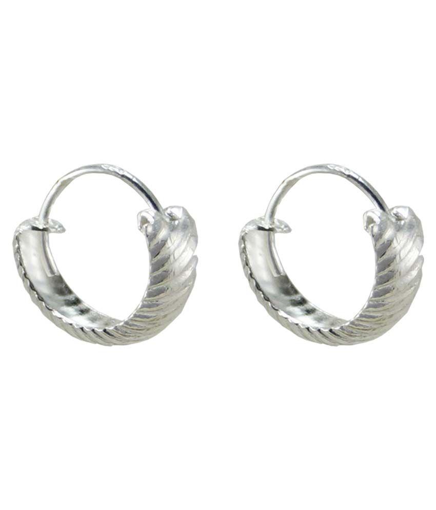 Jewelry Place White 92.5 Sterling Silver Cubic Zirconia Hoop Earrings