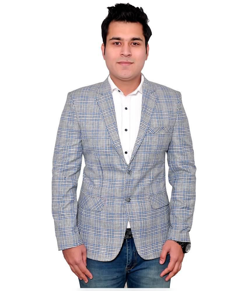 Fabmark Grey Cotton Blend Blazer