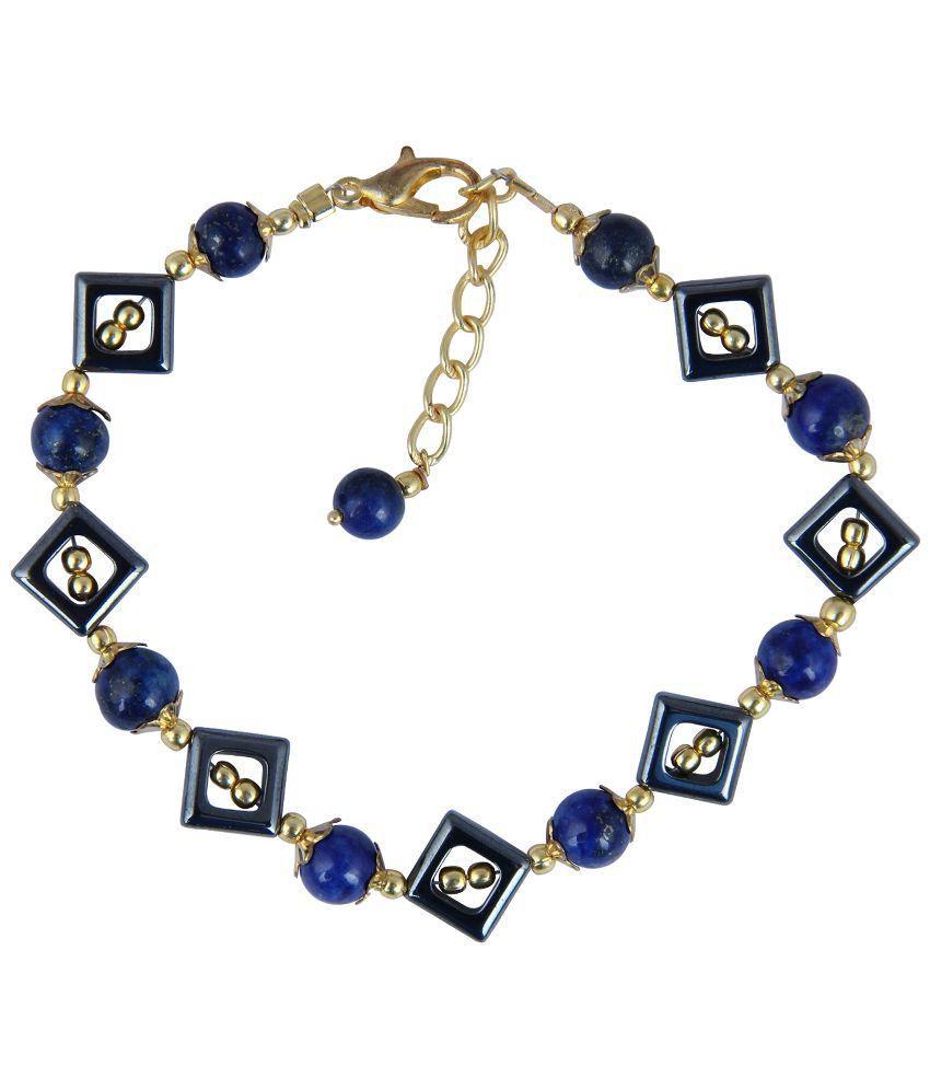 Pearlz Ocean Black Hematite And Dyed lapis Bracelet