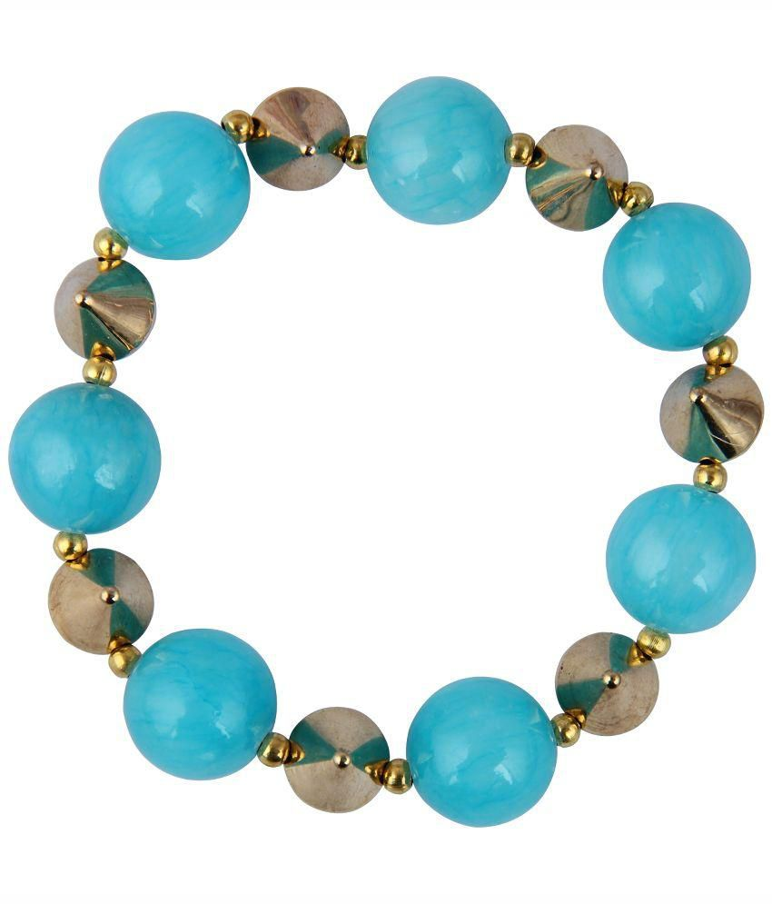 Pearlz Ocean Blue Quartz And Metal Beads Stretchable Bracelet